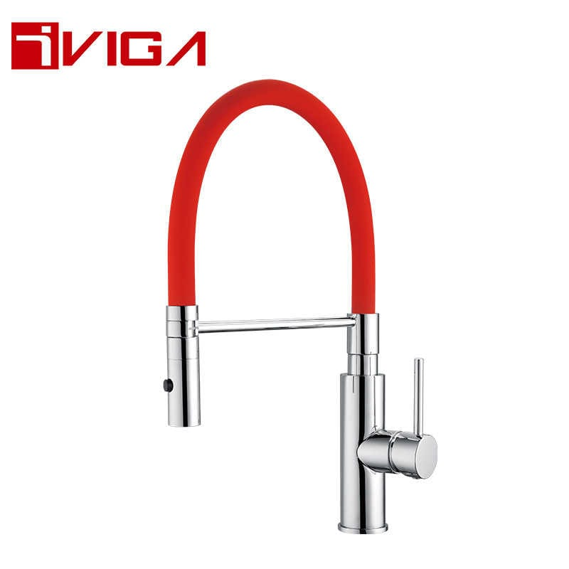 Pre-Rinse Spray Kitchen Faucet 42209003CH with Locking Push Button Control